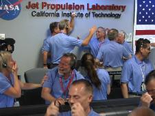 Engineers at NASA&#39;s Jet Propulsion<br /> Laboratory in Pasadena, Calif., celebrate<br /> the landing of NASA&#39;s Curiosity rover on<br /> the Red Planet. The rover touched down on<br /> Mars the evening of Aug. 5 PDT (morning of<br /> Aug. 6 EDT).<br /> Image credit: NASA/JPL-Caltech<br /> <a href='http://www.nasa.gov/mission_pages/msl/multimedia/cheering.html' class='bbc_url' title='External link' rel='nofollow external'>� Full image and caption</a>