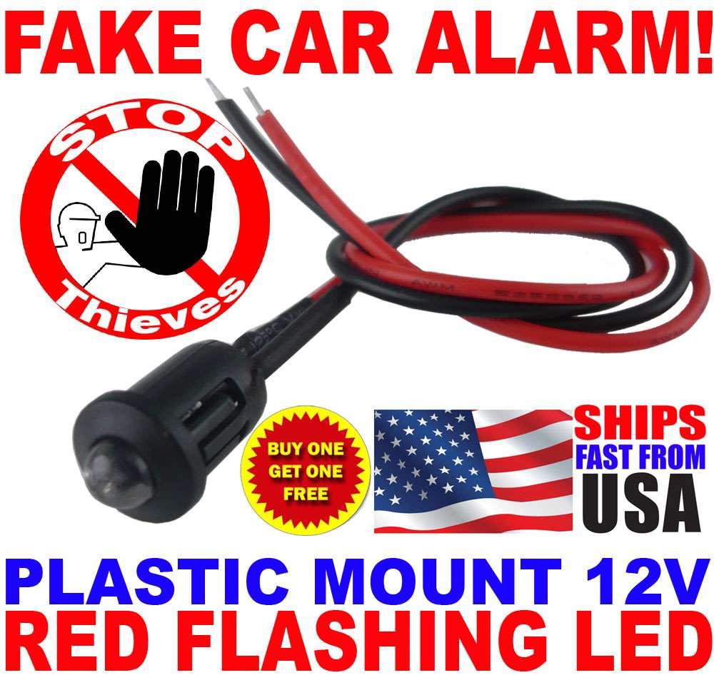 12v red alternating flashing dummy fake car alarm dash. Black Bedroom Furniture Sets. Home Design Ideas